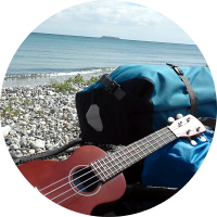 Ukulele at beach